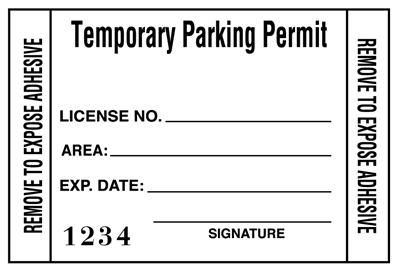 Temporary Parking Permit Windshield Sticker