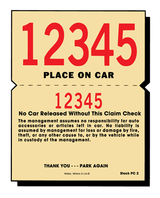 Parking Claim Check - 2 Part PARK-O-CHEX®