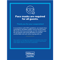 Hilton CleanStay Face Mask Requirement Stickers