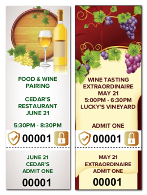 Food & Wine Tickets with Security Features
