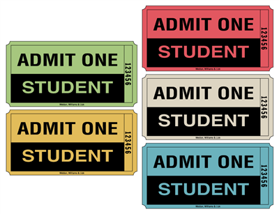 Roll Tickets - Admit One Student