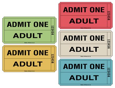 Roll Tickets - Admit One Adult