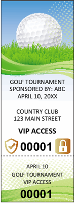 Golf Tournament Tickets with Security Features