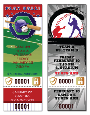 Baseball Tickets with Security Features