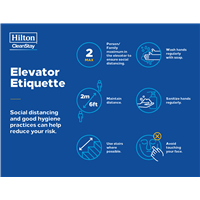 Hilton CleanStay Elevator Etiquette Stickers