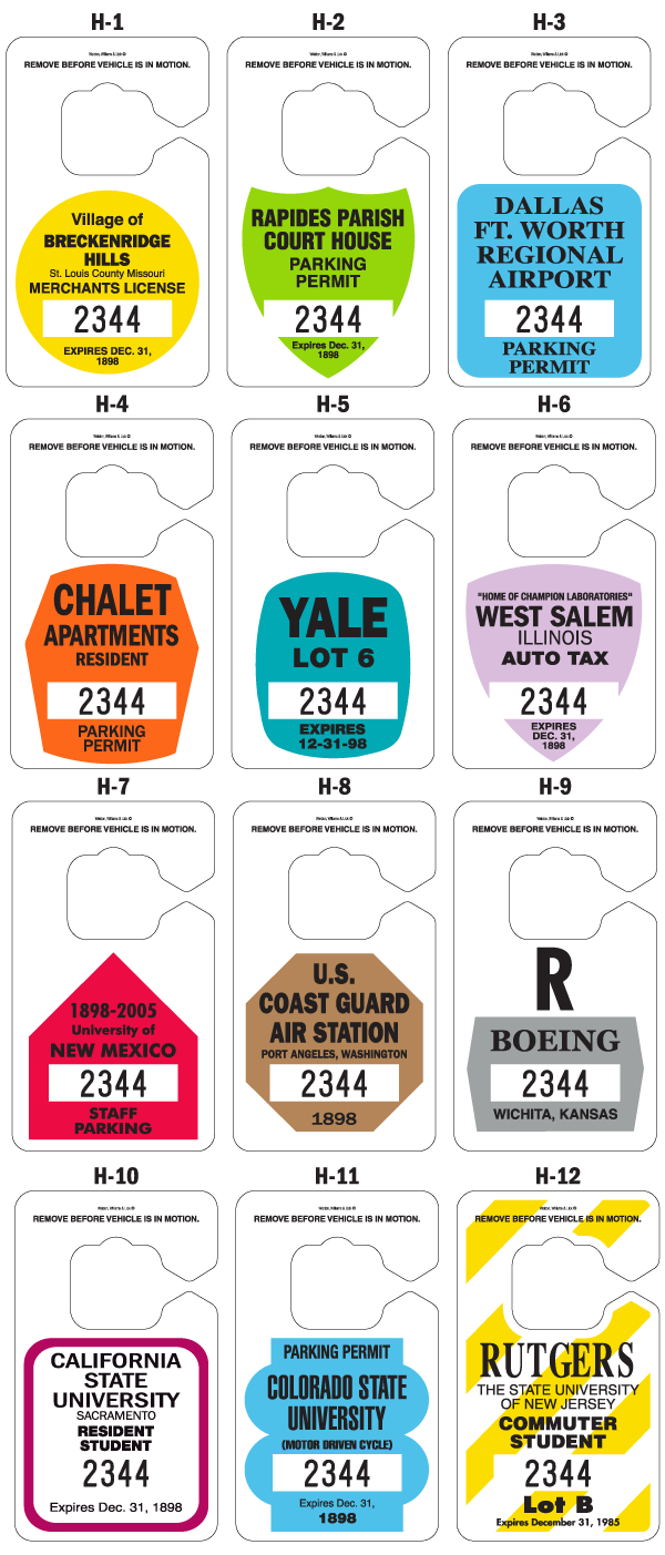 Color options for fade resistant parking permit hang tags