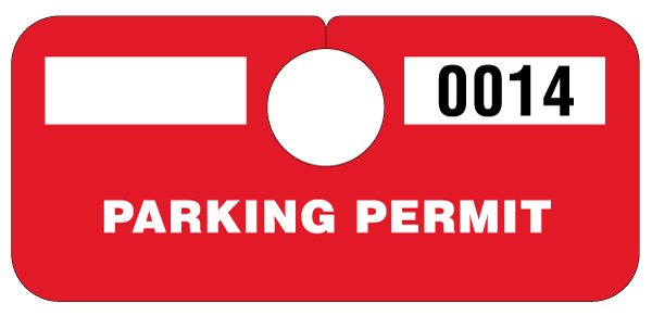 Temporary Red Parking Hang Tag