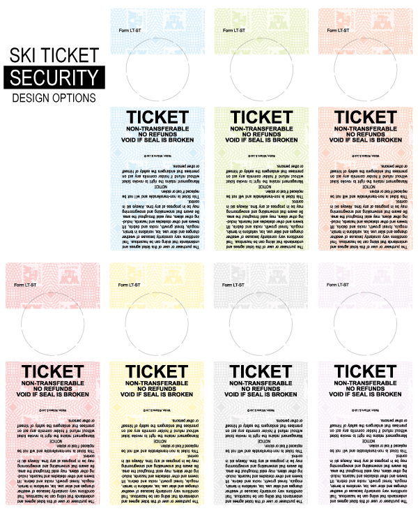 Ski Ticket Security Label Color Options