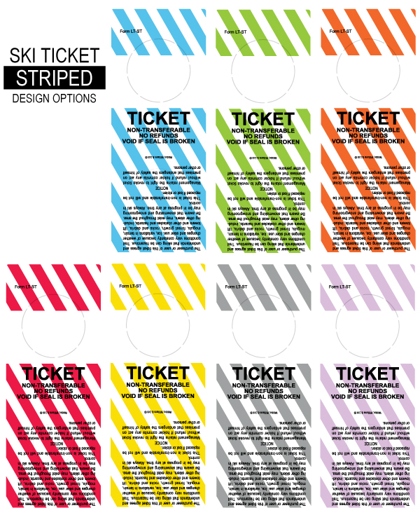 Striped ski lift ticket labels