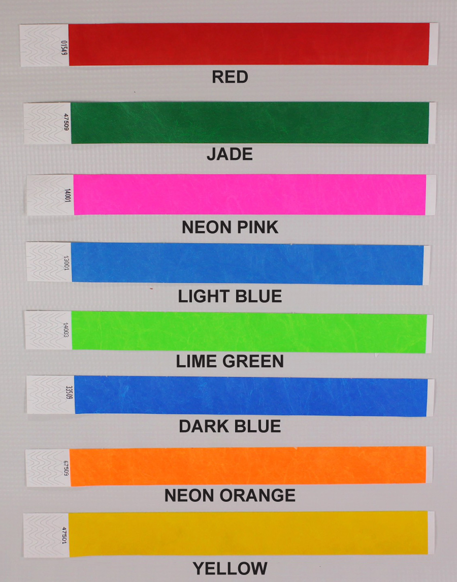 Tyvek Wristbands include 8 Solid Color Options