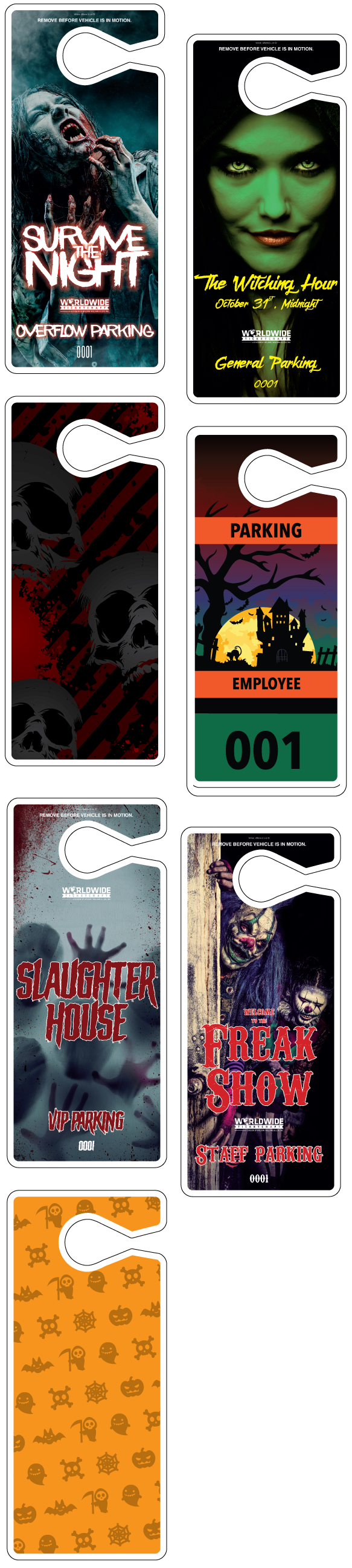 Printed Haunted House Parking Hang Tags